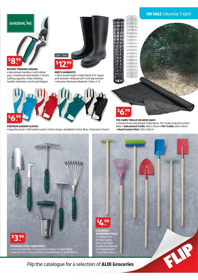 Aldi april catalogue offers big range of products page 17 for Aldi gardening tools 2016