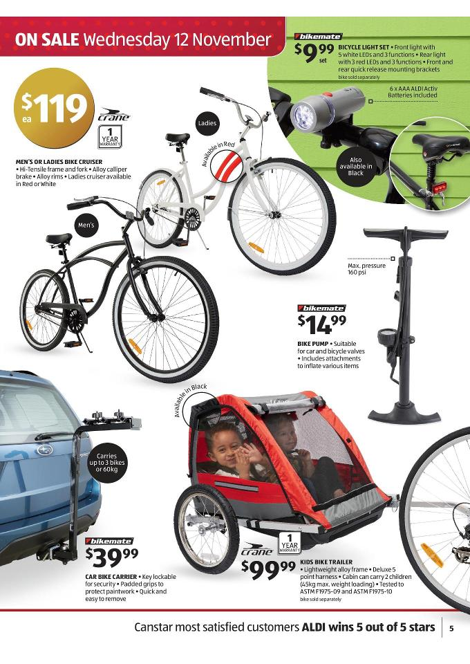 dcedc081e1a Aldi Catalogue Christmas Gifts November bikemate bicycle light set, crane  men's or