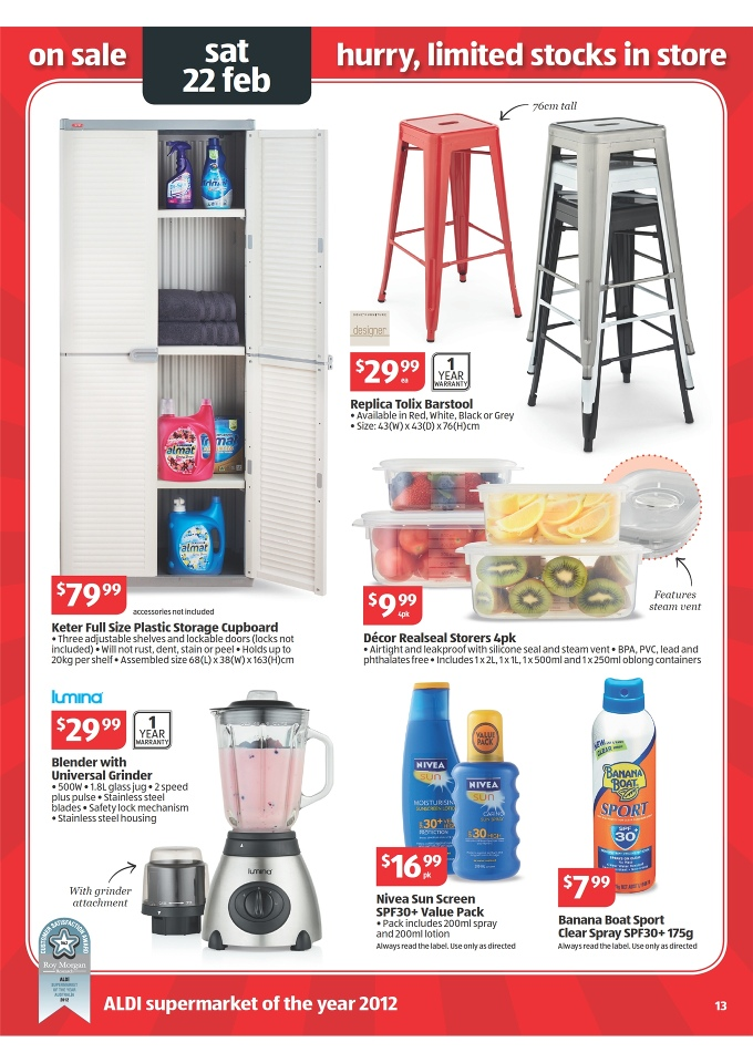 Aldi Catalogue Easter Offers 2017 Sohl Replica Tolix Barstool Keter Full Size Plastic Storage Cupboard