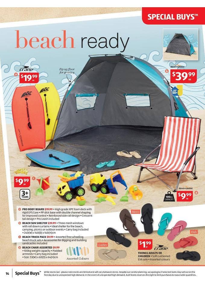 Aldi Catalogue October Christmas Offers adventuridge beach sun shelter crane pro body board  sc 1 st  Discount Stores Australia & Aldi Catalogue October Christmas Offers Page 14