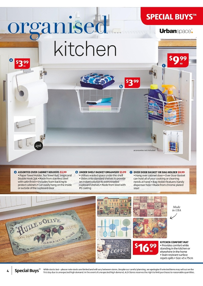 aldi catalogue special buys week 8 2015 urbanspace under shelf basket