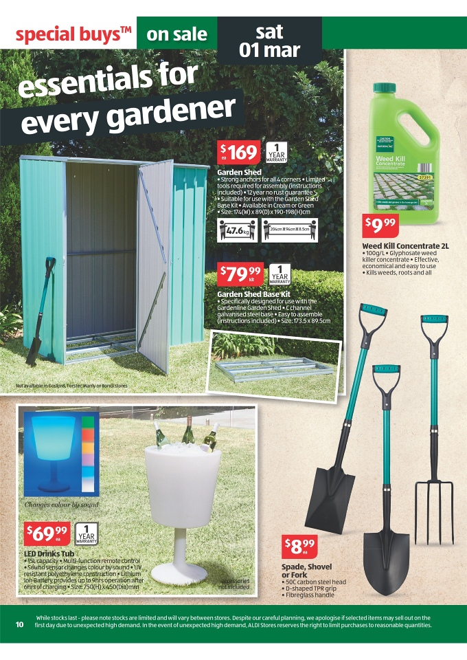 Aldi catalogue special buys week 9 page 10 for Aldi gardening tools 2016