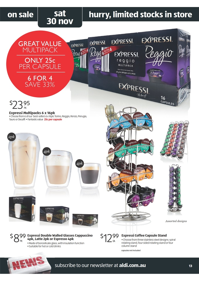 Aldi Christmas 2013 Products Online Catalogue expressi multipacks 6 x 16pk, expressi double walled glasses cappuccino 4pk, latte 2pk or espresso 4pk