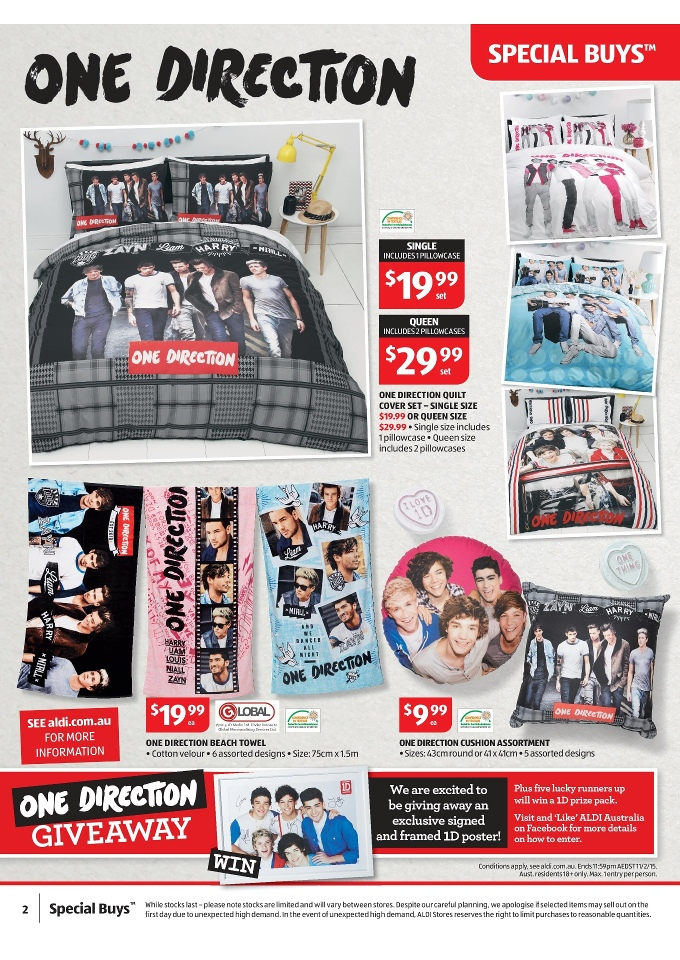 Aldi Special Buys Home Products Catalogue February 2015 One Direction Beach  Towel, One Direction Quilt