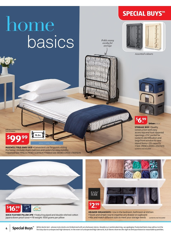 Folding Beds Aldi : Aldi special buys home products catalogue february page