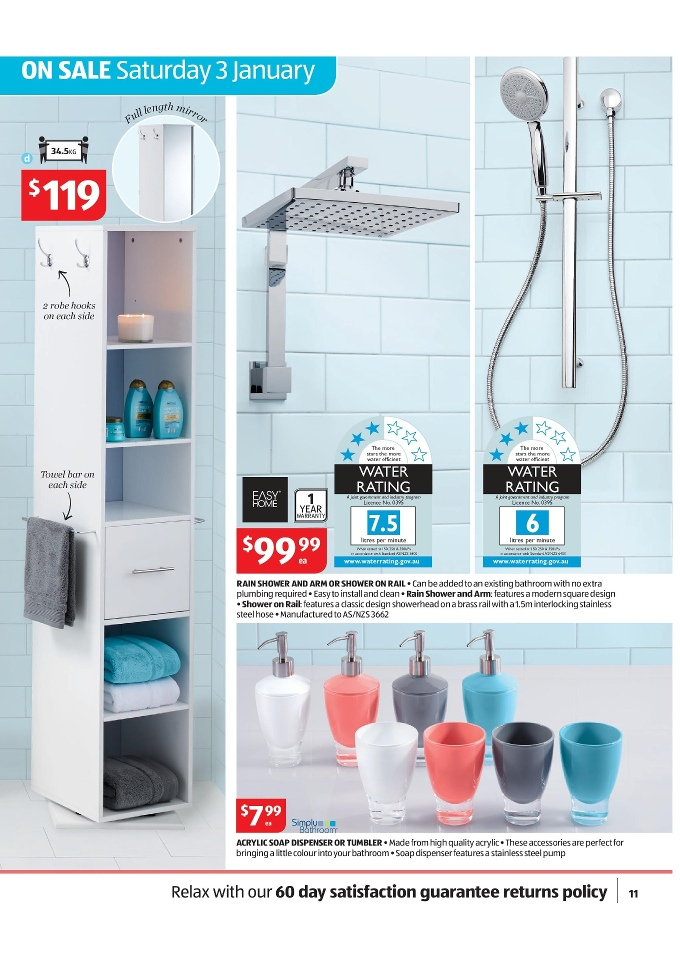 aldi special buys january 2015 rain shower and arm or shower on rail