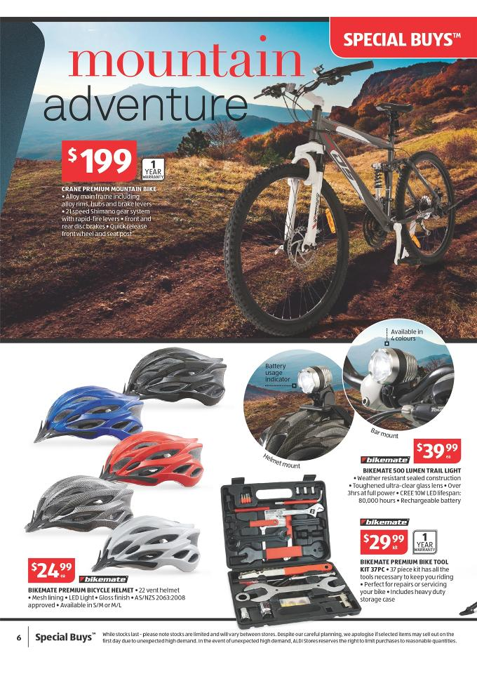 22df78ee1ce Aldi Special Buys Outdoor and Christmas Products bikemate premium bicycle  helmet, crane premium mountain bike
