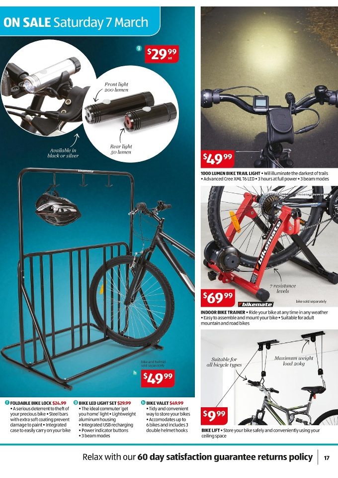 33adb1ee453 Aldi Special Buys Week 10 March 2015 bike valet, bike led light set