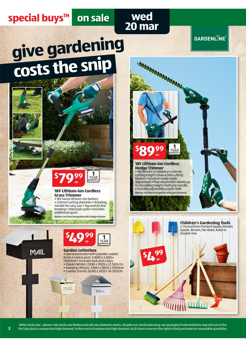 Aldi catalogue special buys week 12 2013 page 2 for Aldi gardening tools 2016