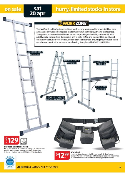 ladder aldi image of. Black Bedroom Furniture Sets. Home Design Ideas