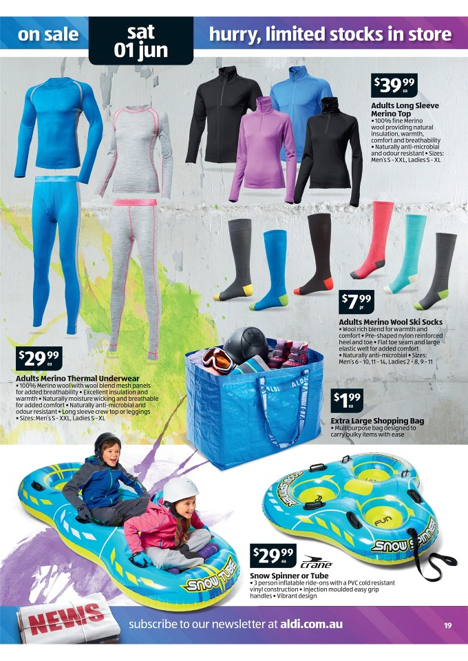 ALDI Catalogue - Special Buys Week 22  2013 adults merino thermal underwear, adults long sleeve merino top