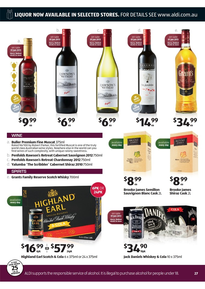 ALDI Catalogue - Special Buys Week 22  2013 jack daniels whiskey & cola, buller premium fine muscat