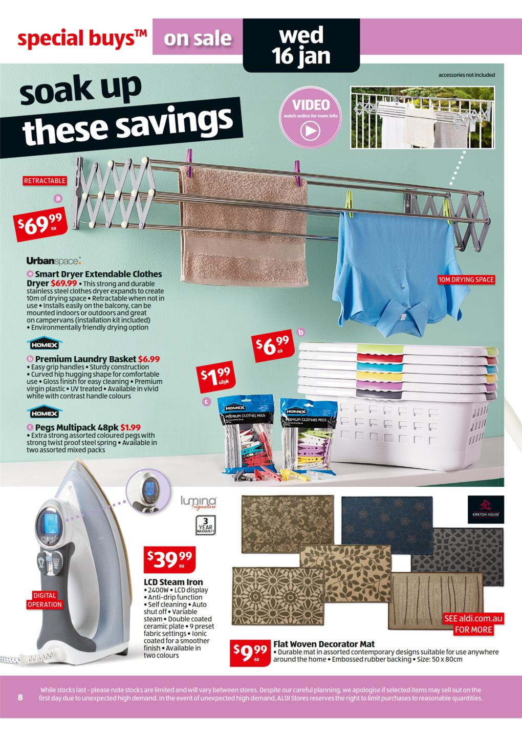 ALDI Catalogue - Special Buys Wk 3 January homex premium laundry basket, urban space smart dryer extendable clothes dryer