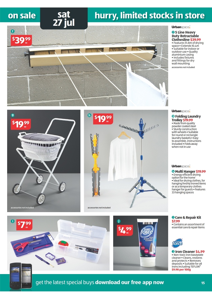 ALDI Catalogue   Special Buys Week 30 2013 Urbanspace Folding Laundry  Trolley, Urbanspace 5 Line