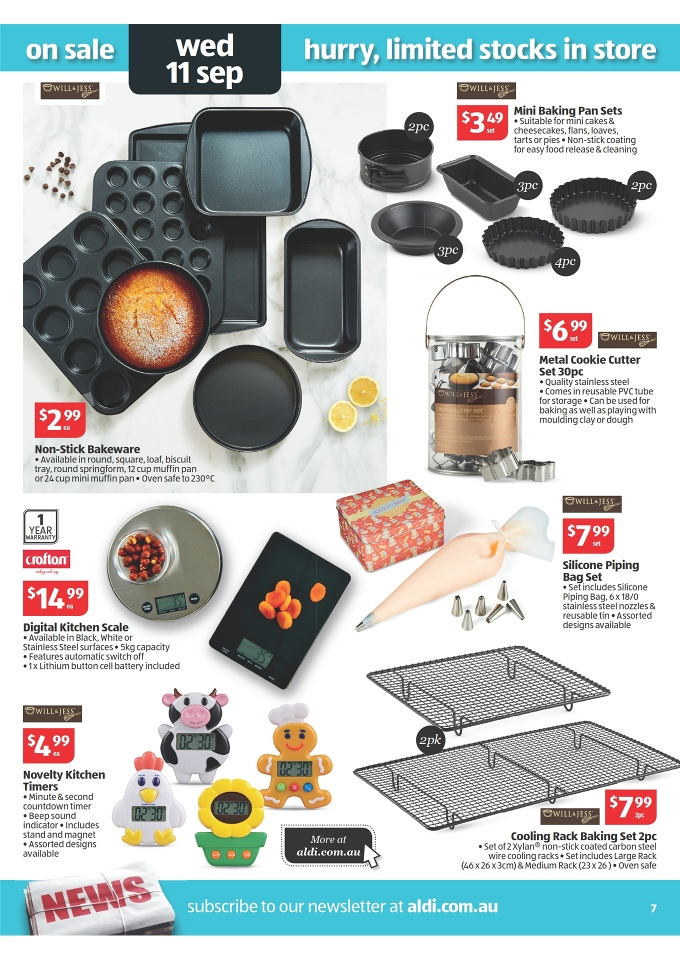 ALDI Catalogue - Special Buys Week 37 2013 will & jess silicone piping bag set, will & jess non-stick bakeware