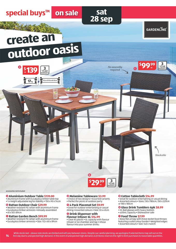 Aldi catalogue special buys week 39 2013 page 14 for Table 52 restaurant week menu 2013