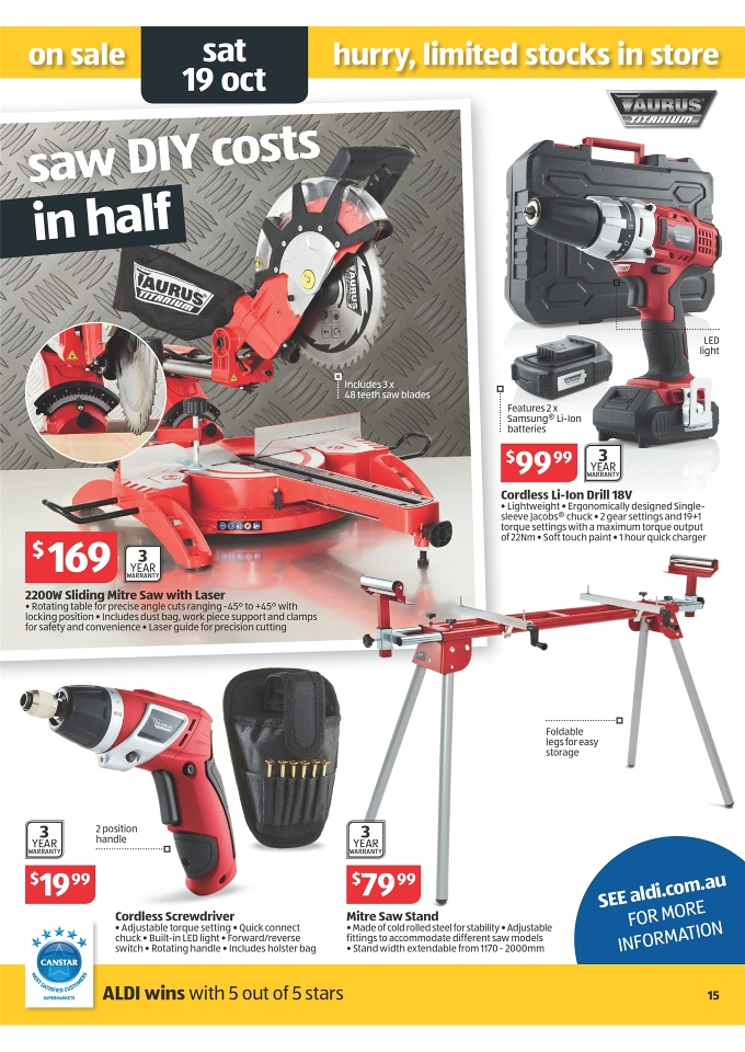 ALDI Catalogue - Special Buys Week 42 2013 taurus cordless li-ion drill 18v, taurus 2200w sliding mitre saw with laser