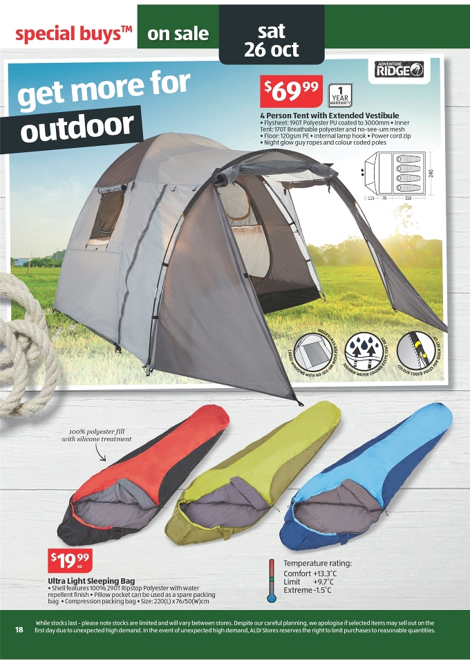 ALDI Catalogue - Special Buys Week 43 2013 adventure ridge 4 person tent with extended vestibule  sc 1 st  Discount Stores Australia & ALDI Catalogue - Special Buys Week 43 2013 Page 18