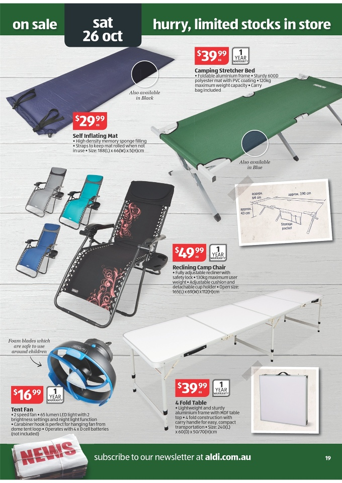 Folding Beds Aldi : Reclining camp chair aldi chairs seating