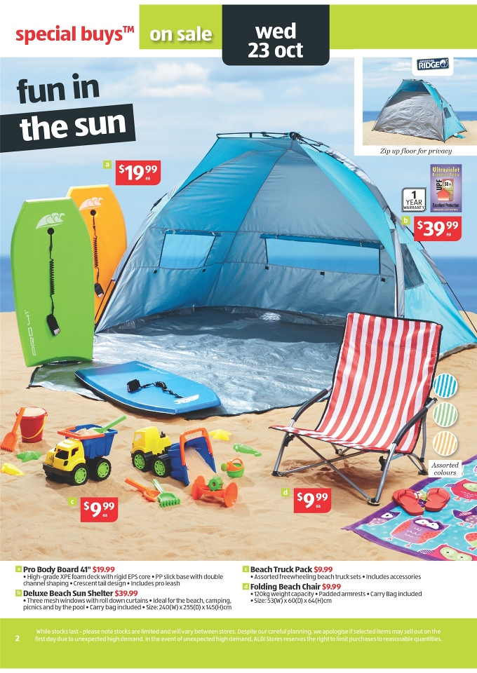ALDI Catalogue - Special Buys Week 43 2013 folding beach chair beach truck pack  sc 1 st  Discount Stores Australia & ALDI Catalogue - Special Buys Week 43 2013 Page 2