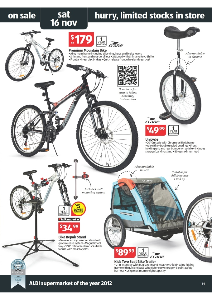 ALDI Catalogue - Special Buys Week 46 2013 crane premium mountain bike, bikemate bike repair stand
