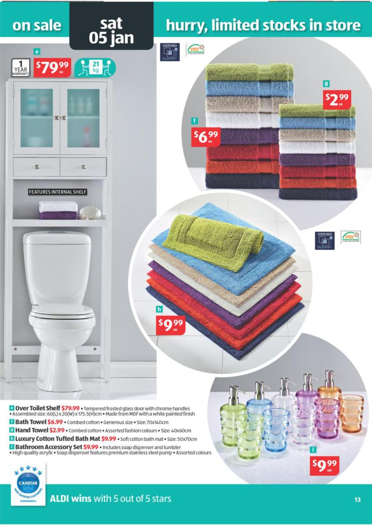 aldi catalogue special buys wk 52 january bath towel over toilet
