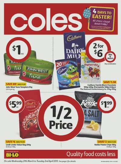 huge sale of easter in last 4 days from coles online