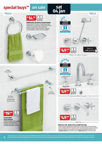 Aldi catalogue 2014 tapware and bathroom accessory for Bathroom decor catalogs